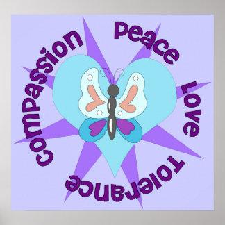 Peace Love Tolerance Compassion Poster
