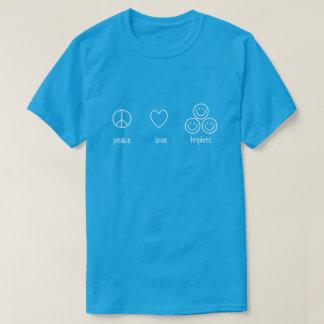 Peace, Love, Triplets (Dark) T-Shirt