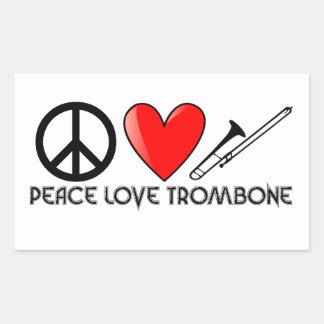 Peace, Love, Trombone Rectangular Sticker