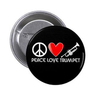 Peace, Love, Trumpet 6 Cm Round Badge