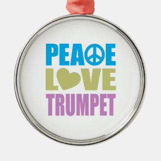 Peace Love Trumpet Silver-Colored Round Decoration