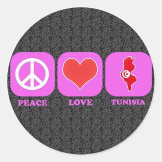 Peace Love Tunisia Classic Round Sticker