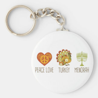 Peace Love Turkey Menorah Basic Round Button Key Ring