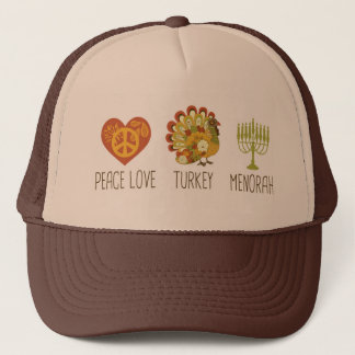 Peace Love Turkey Menorah Trucker Hat