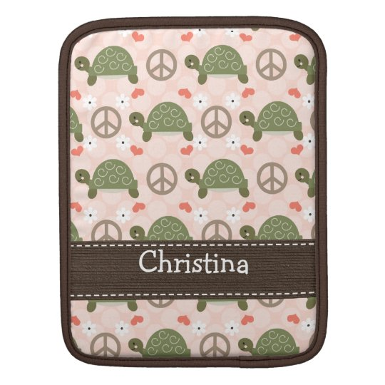 Peace Love Turtle iPad Sleeve for iPad 2 and 1
