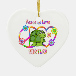 Peace Love Turtles Ceramic Heart Decoration