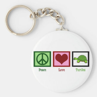 Peace Love Turtles Basic Round Button Key Ring