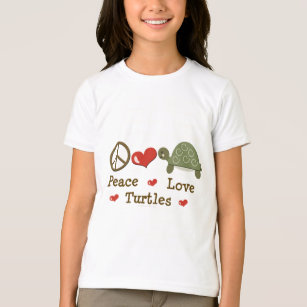 Peace Love Turtles Kids Ringer Tee Shirt