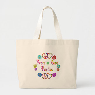 PEACE LOVE TURTLES LARGE TOTE BAG