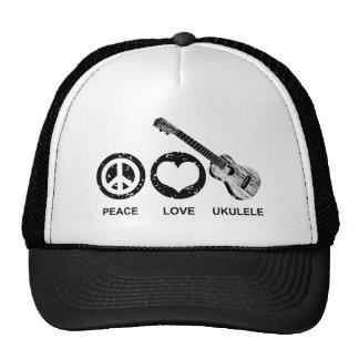 Peace Love Ukulele Mesh Hat