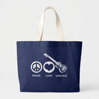 Peace Love Ukulele Jumbo Tote Bag