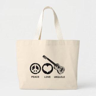 Peace Love Ukulele Large Tote Bag