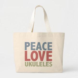 Peace Love Ukuleles Large Tote Bag