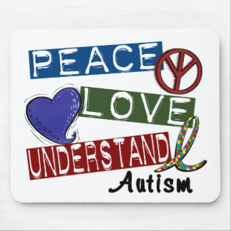 PEACE LOVE UNDERSTAND AUTISM MOUSE MAT