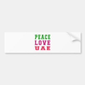 Peace Love United Arab Emirates Bumper Stickers