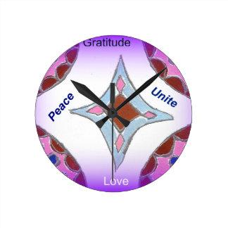 Peace Love Unity hakuna matata .png Round Wallclock
