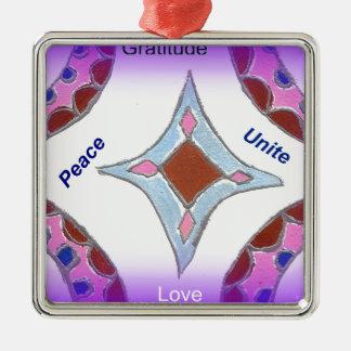 Peace Love Unity hakuna matata .png Square Metal Christmas Ornament