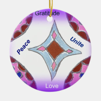 Peace Love Unity hakuna matata .png Double-Sided Ceramic Round Christmas Ornament