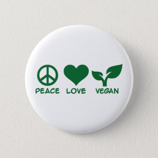 Peace love vegan 6 cm round badge