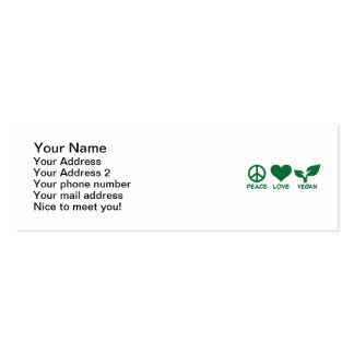 Peace love vegan pack of skinny business cards