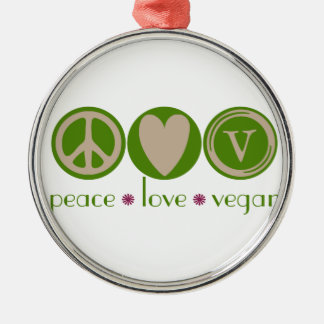 Peace Love Vegan Christmas Ornament