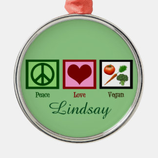 Peace Love Vegan Custom Green Christmas Ornament