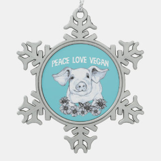 Peace Love Vegan Hand drawn Pig Christmas Ornament