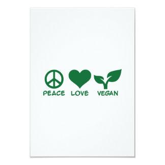 "Peace love vegan 3.5"" x 5"" invitation card"