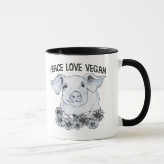 Peace Love Vegan Pig Coffee Cup Mug