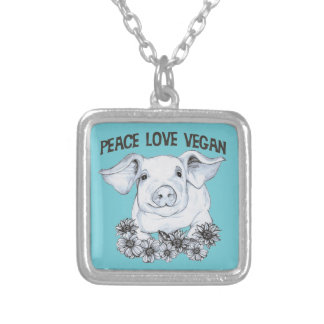 Peace Love Vegan Pig Necklace Pendant