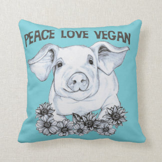 Peace Love Vegan Pig Pillow