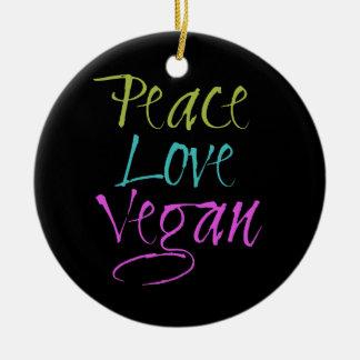 Peace, Love, Vegan Round Ceramic Decoration