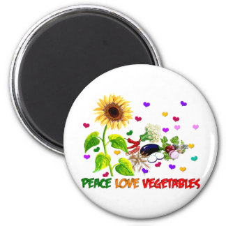 Peace Love Vegetables 6 Cm Round Magnet