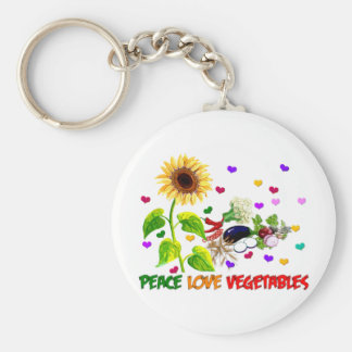 Peace Love Vegetables Key Chains