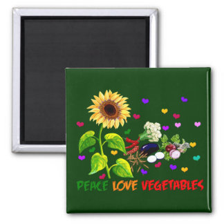 Peace Love Vegetables Refrigerator Magnets