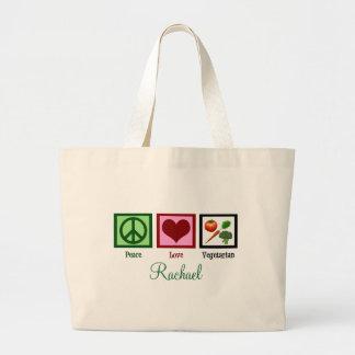 Peace Love Vegetarian Personalized Large Tote Bag