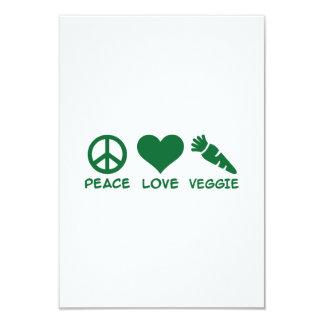 "Peace love veggie 3.5"" x 5"" invitation card"