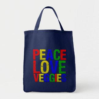 Peace Love Veggies Canvas Bags