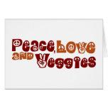 Peace Love Veggies Greeting Cards