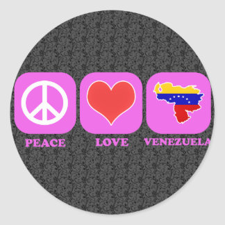 Peace Love Venezuela Classic Round Sticker