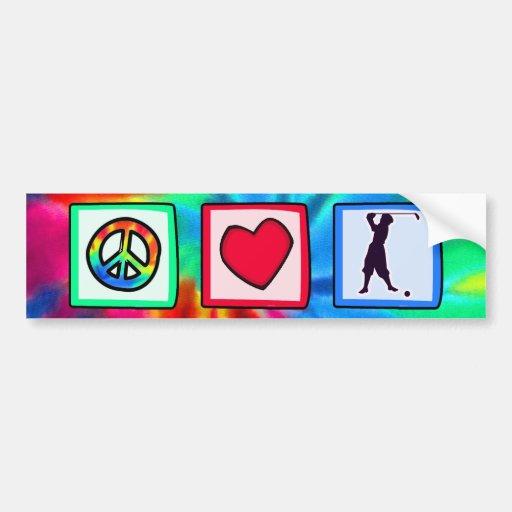 Peace, Love, Vintage Golf Bumper Sticker