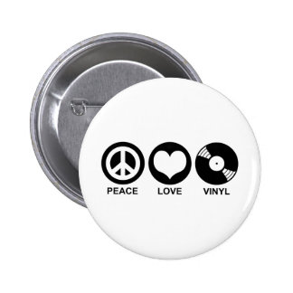 Peace Love Vinyl 6 Cm Round Badge
