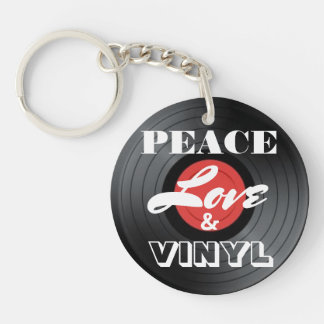 Peace, Love & Vinyl Double-Sided Round Acrylic Key Ring