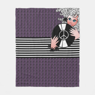 Peace, Love & Vinyl Fleece Blanket