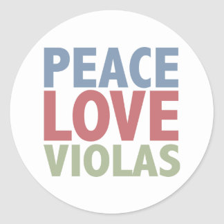 Peace Love Violas Classic Round Sticker