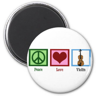 Peace Love Violin 6 Cm Round Magnet