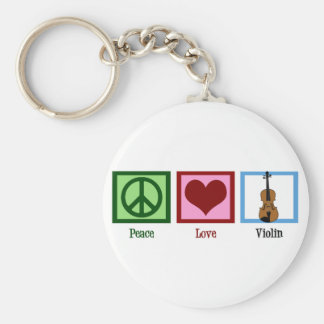 Peace Love Violin Basic Round Button Key Ring