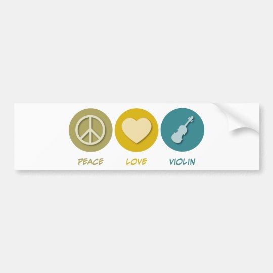 Peace Love Violin Bumper Sticker