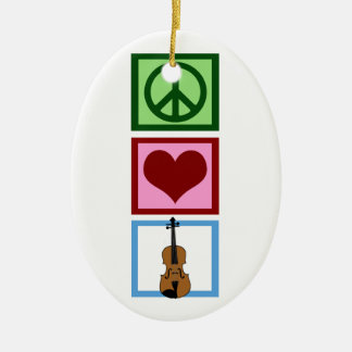 Peace Love Violins Christmas Ornament