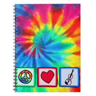 Peace, Love, Violins Spiral Notebook
